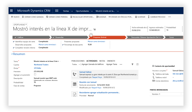 Oportunidad Micorsoft Dynamics CRM