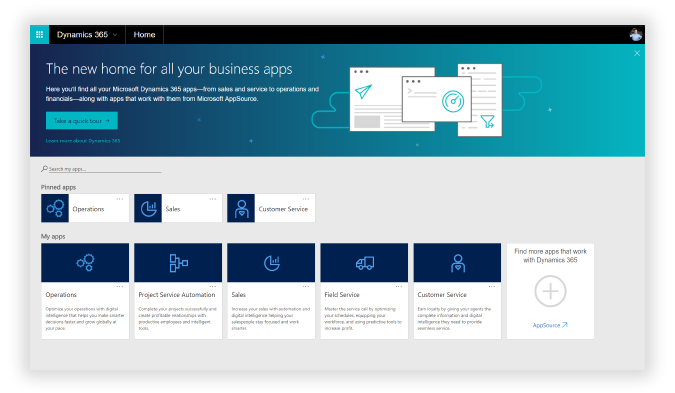 Dynamics 365 blue Home